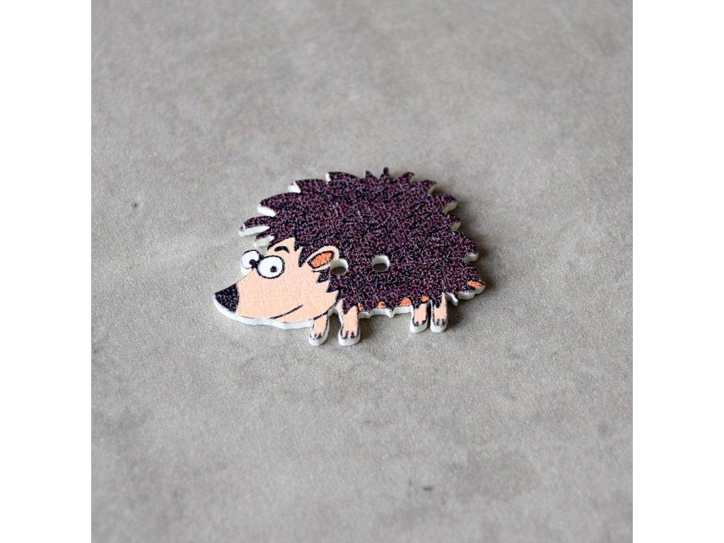 Dřevěný dekorační knoflík - ježek