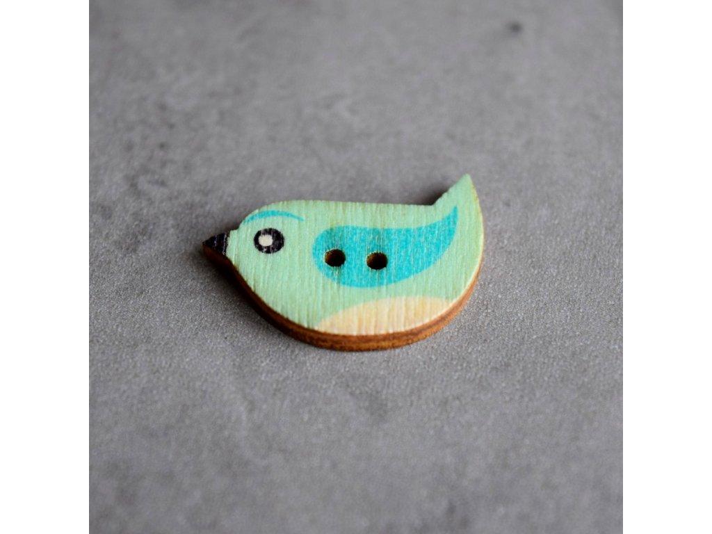 Dřevěný dekorační knoflík - ptáček - modrý