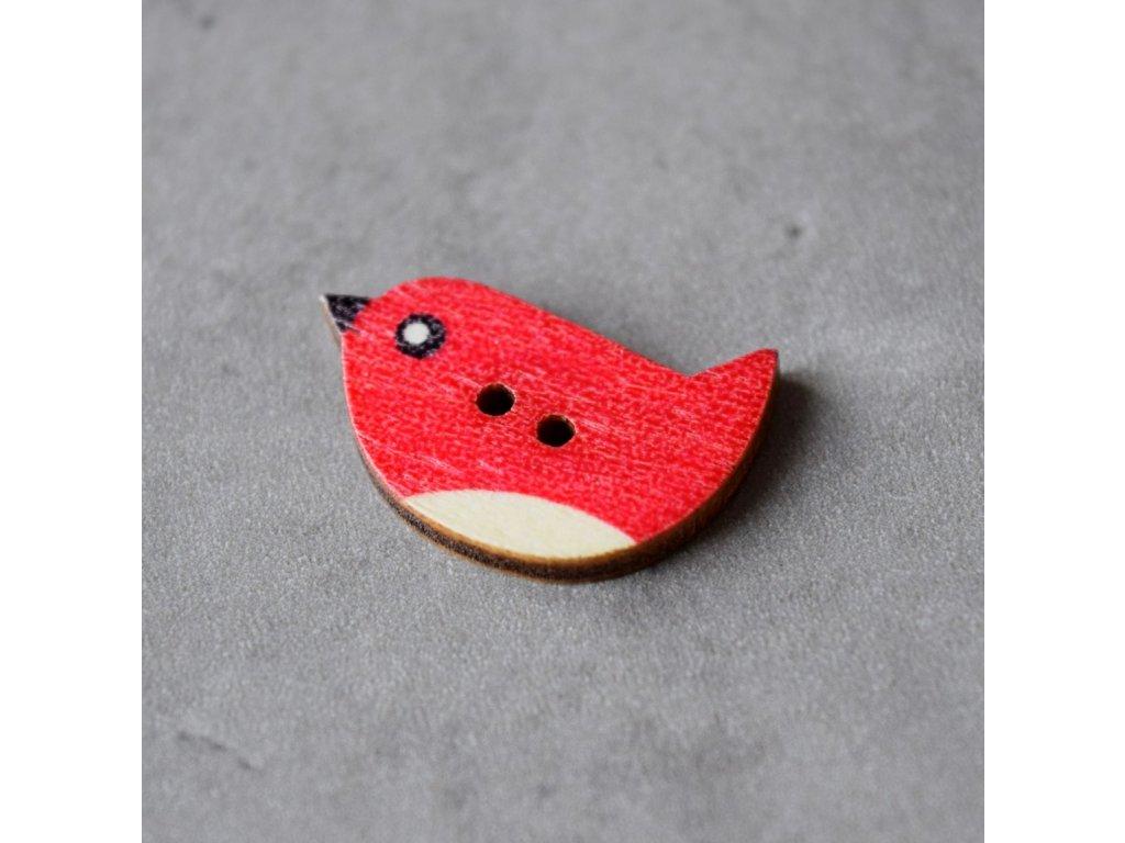 Dřevěný dekorační knoflík - ptáček - červený