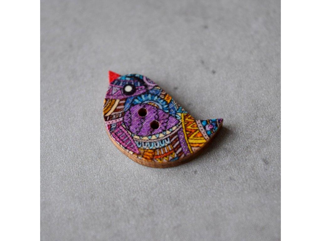 Dřevěný dekorační knoflík - ptáček - fialovooranžový