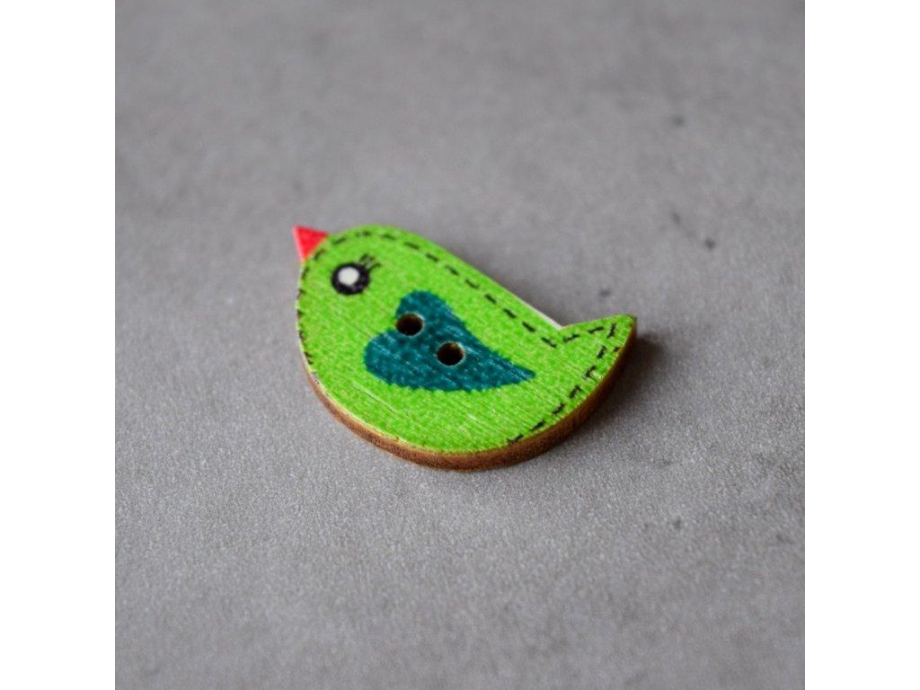 Dřevěný dekorační knoflík - ptáček - zelený