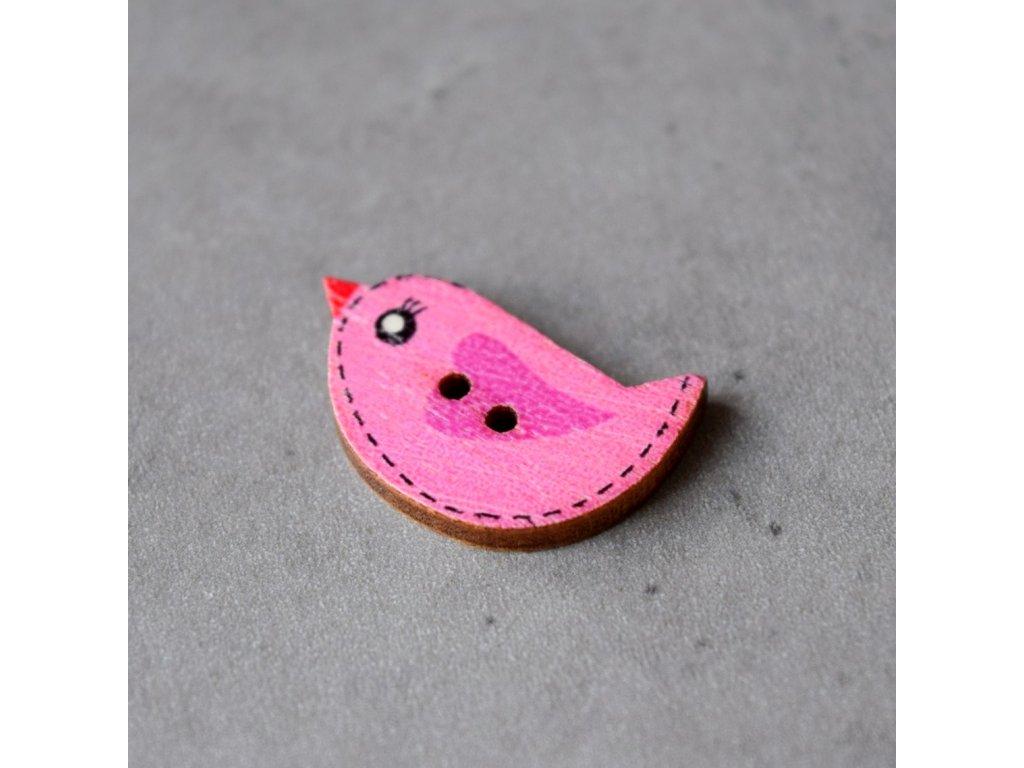 Dřevěný dekorační knoflík - ptáček - růžový