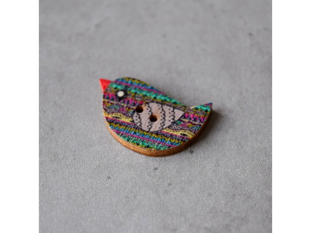 Dřevěný dekorační knoflík - ptáček - fialový