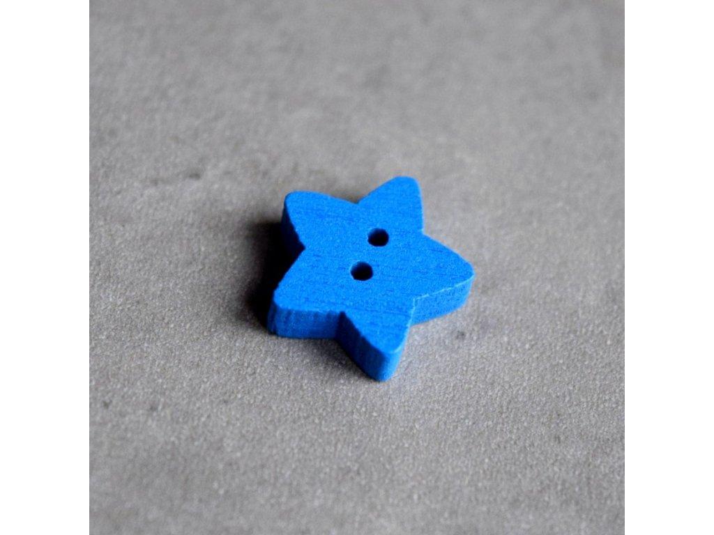 Dřevěný dekorační knoflík - hvězdička - modrá