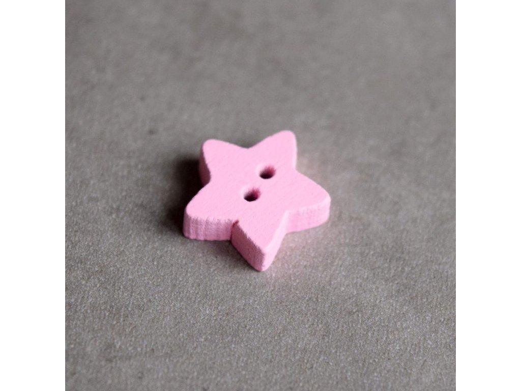 Dřevěný dekorační knoflík - hvězdička - růžová