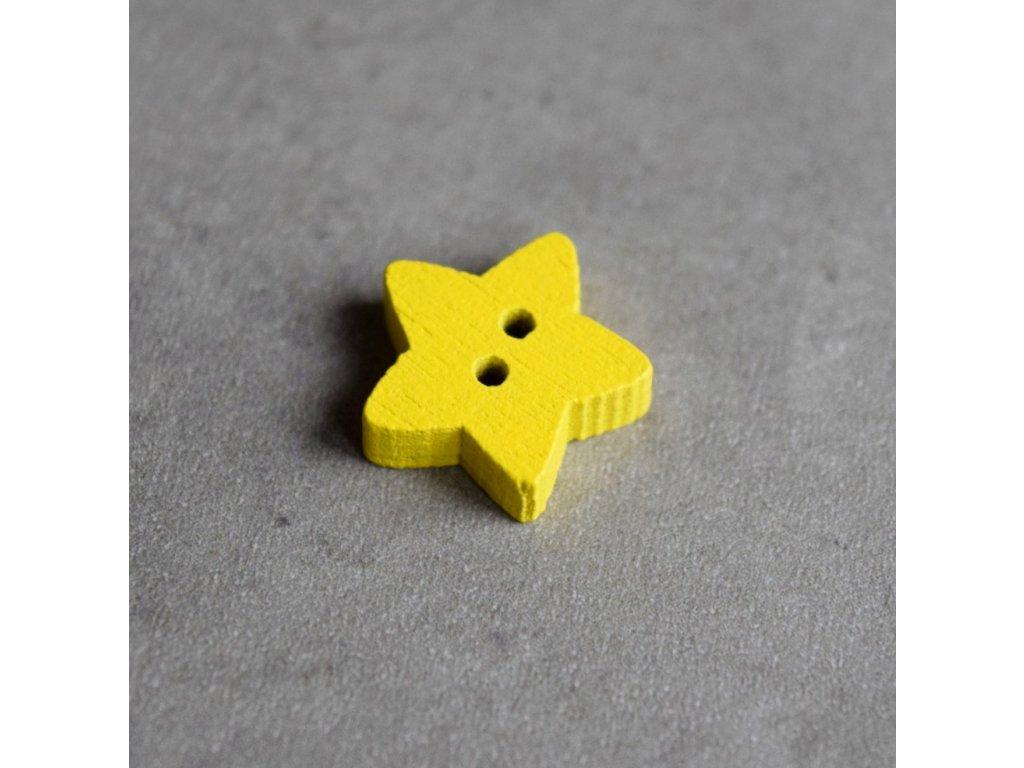 Dřevěný dekorační knoflík - hvězdička - žlutá