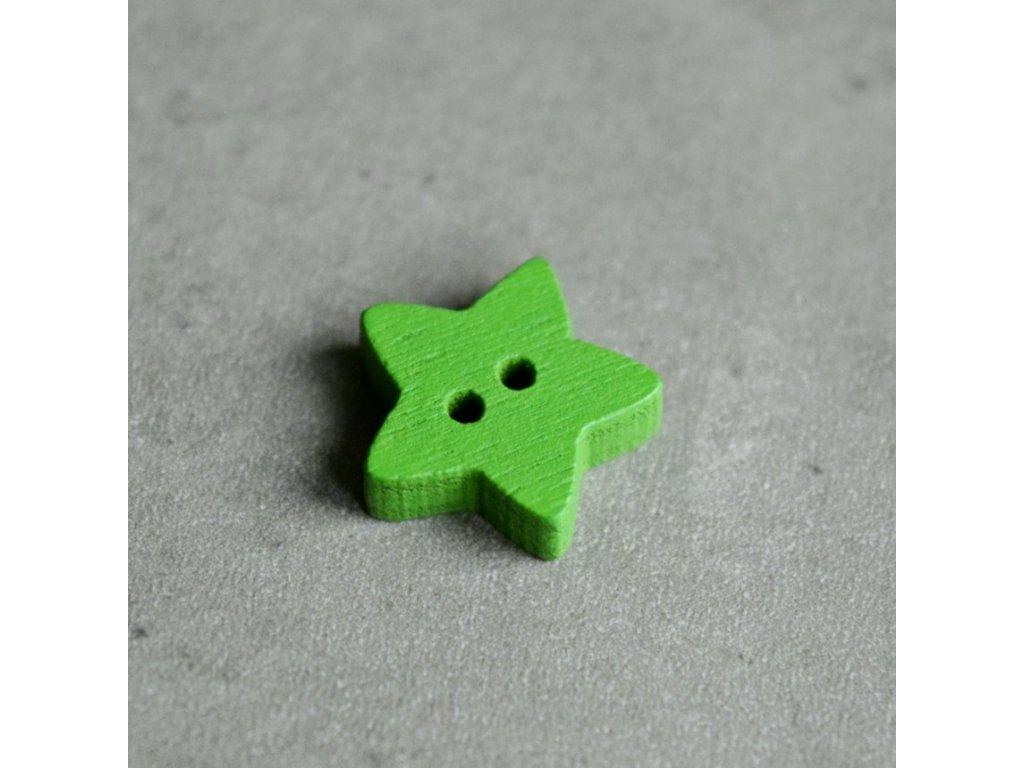Dřevěný dekorační knoflík - hvězdička - zelená