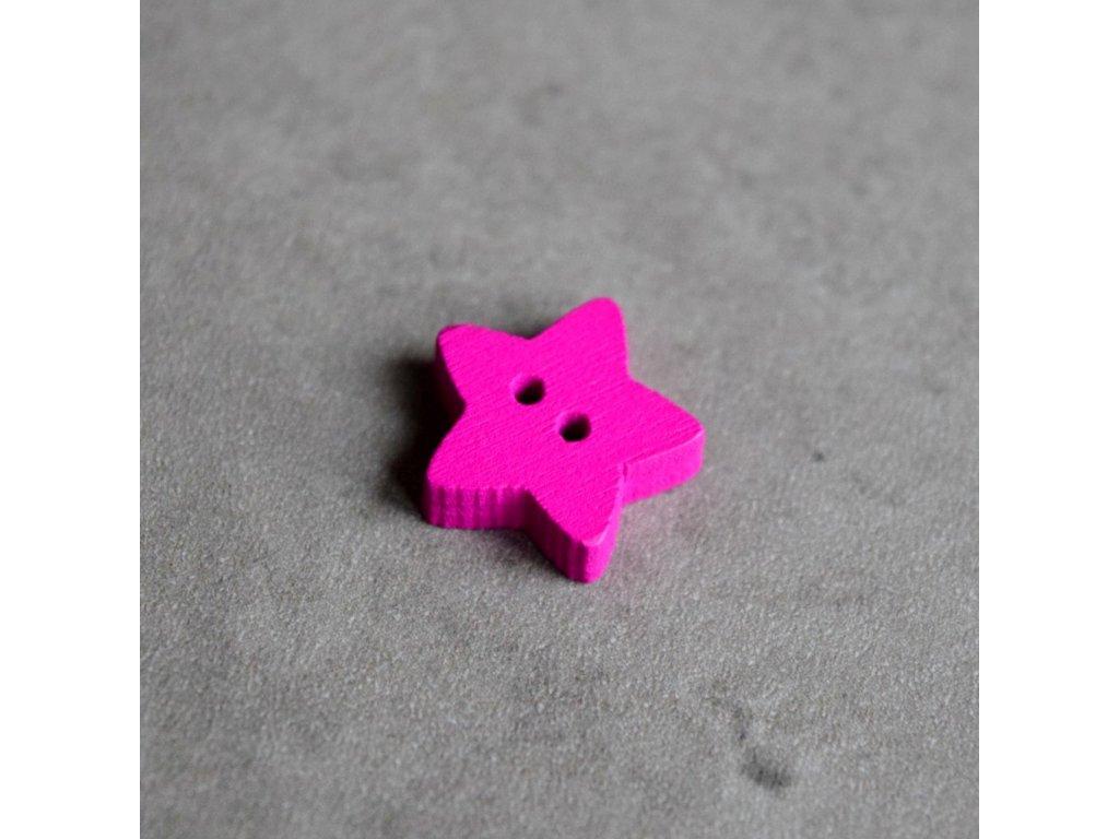 Dřevěný dekorační knoflík - hvězdička - fialová