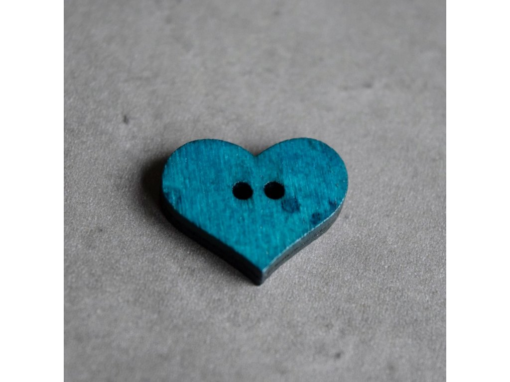 Dřevěný dekorační knoflík - srdce - modré