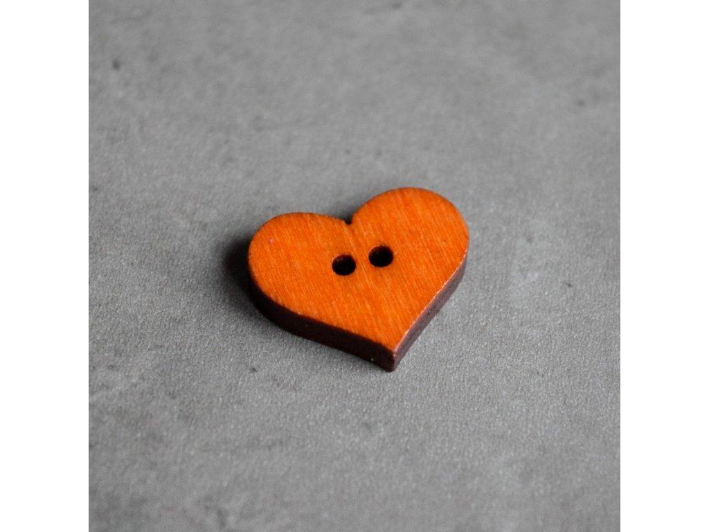 Dřevěný dekorační knoflík - srdce - oranžové