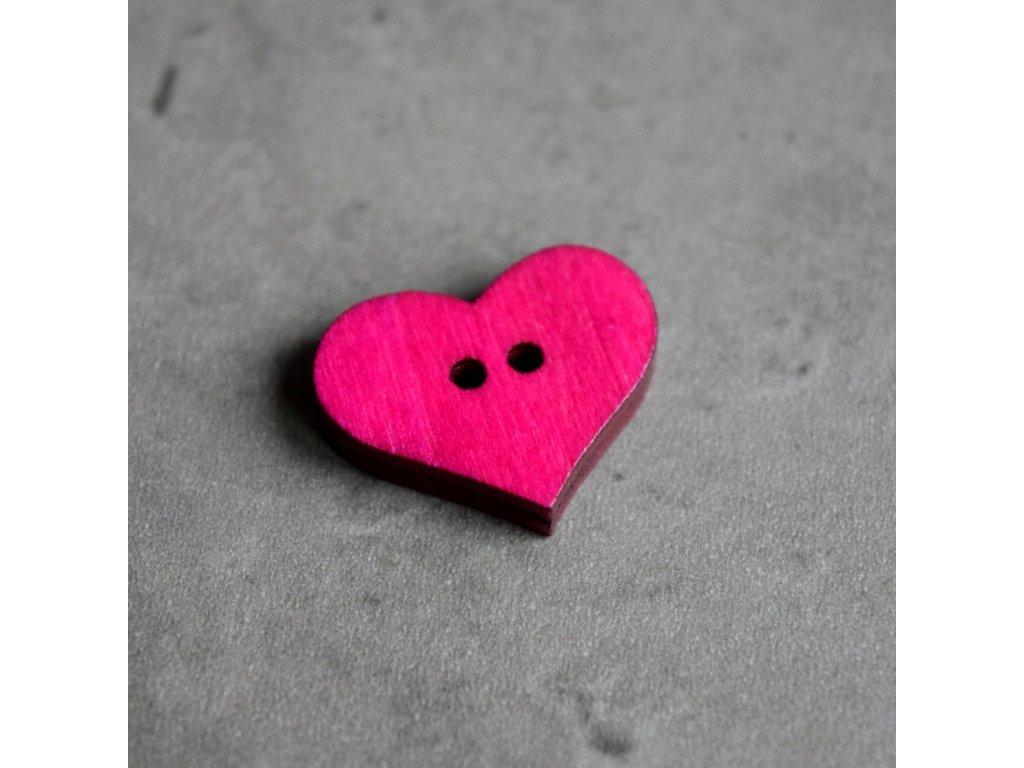 Dřevěný dekorační knoflík - srdce - tmavě růžové