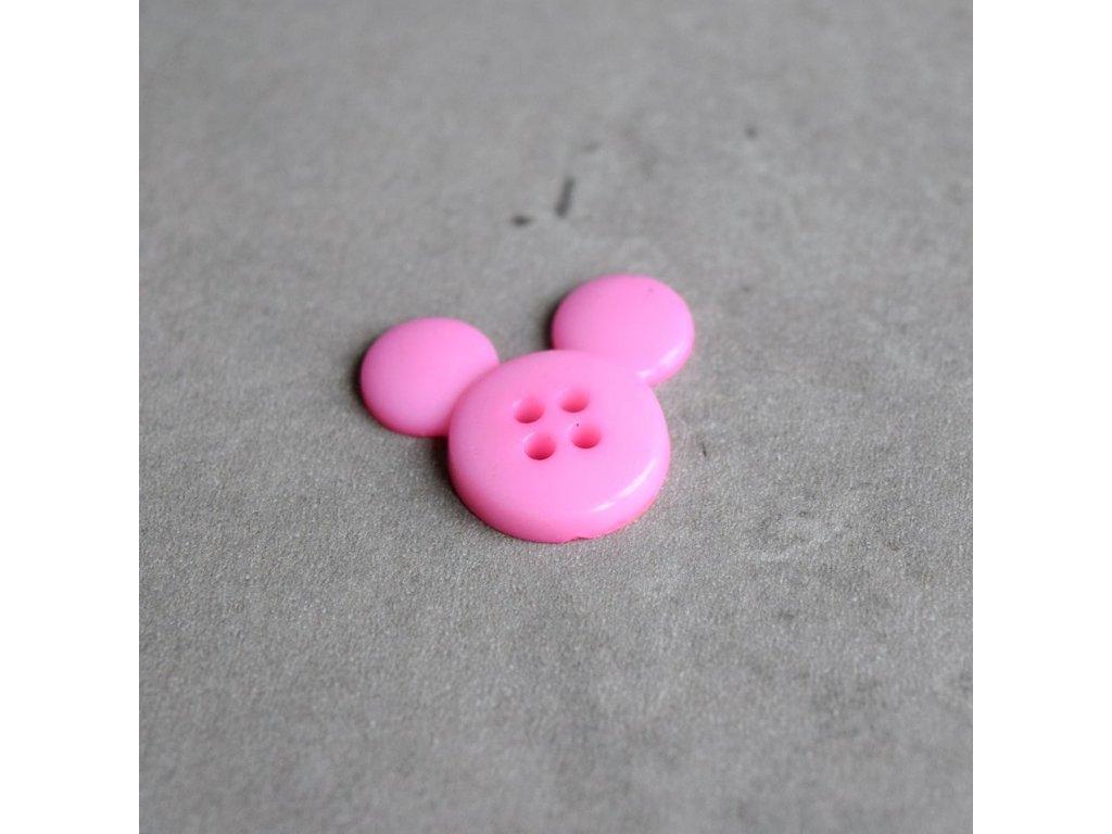 Knoflík - myška - světle růžová