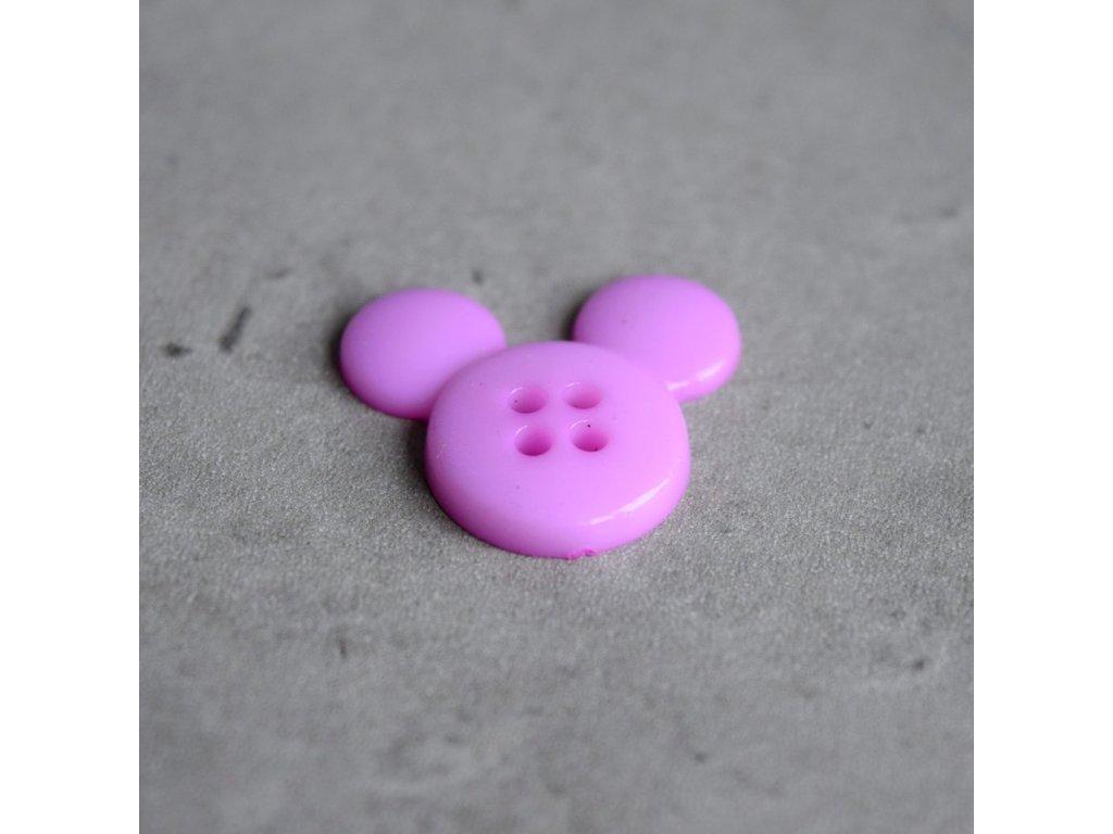Knoflík - myška - fialová