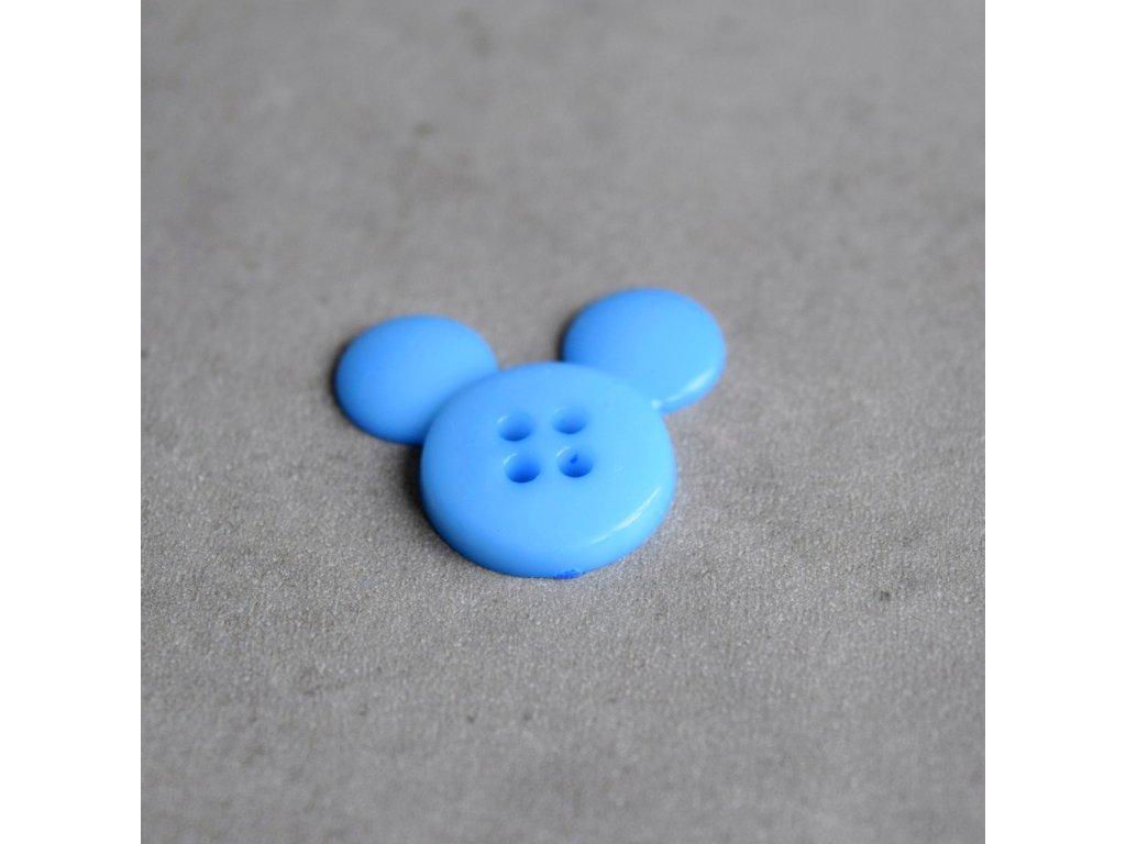 Knoflík - myška - modrá