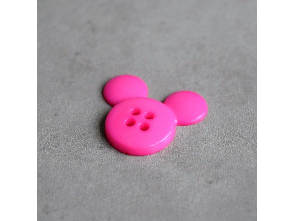 Knoflík - myška - růžová