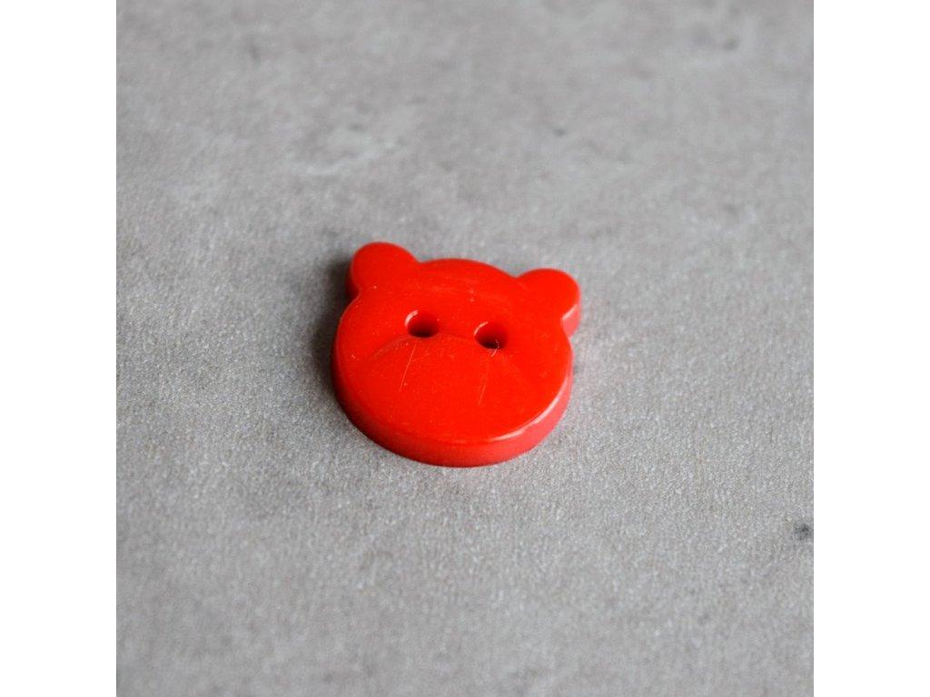 Knoflík - medvídek - červený