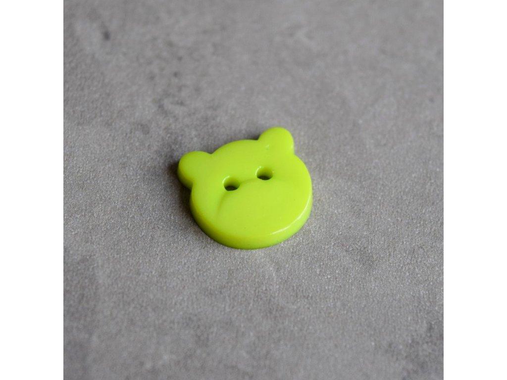 Knoflík - medvídek - zelený