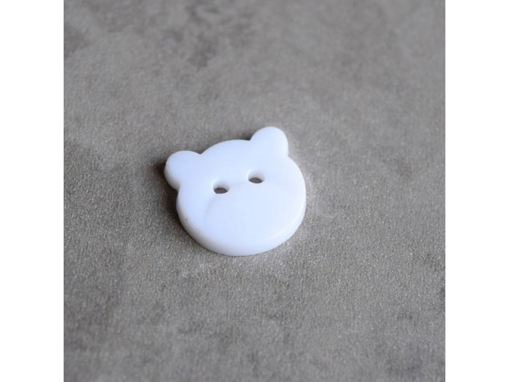 Knoflík - medvídek - bílý