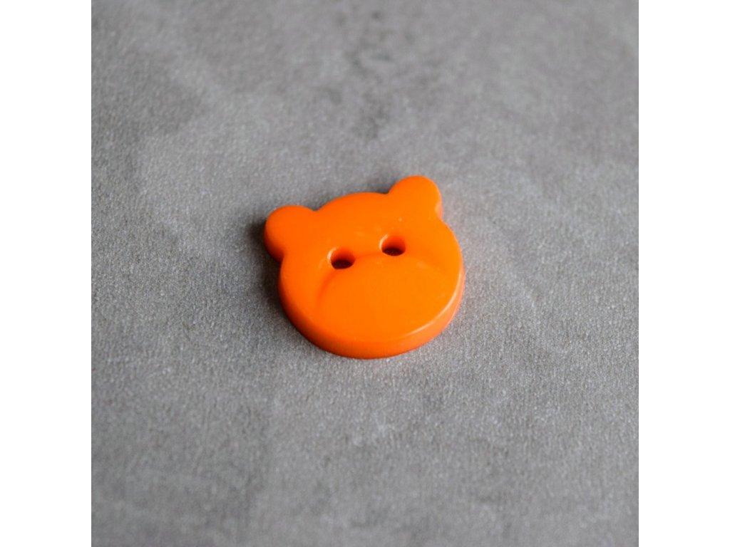Knoflík - medvídek - oranžový