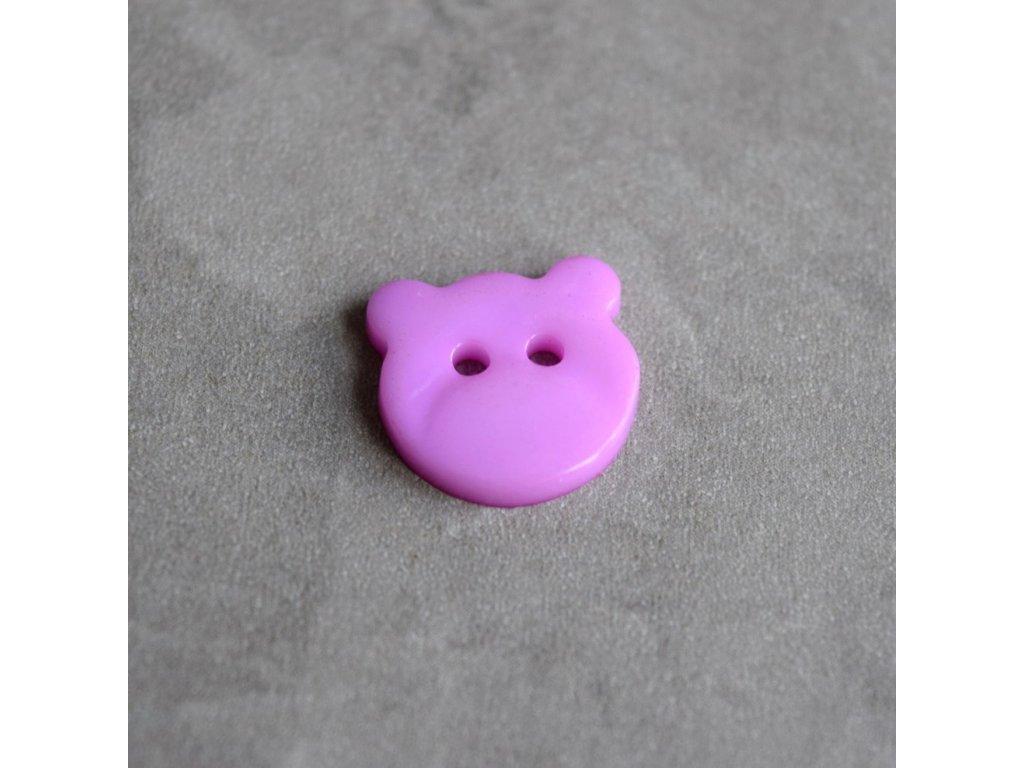 Knoflík - medvídek - fialový