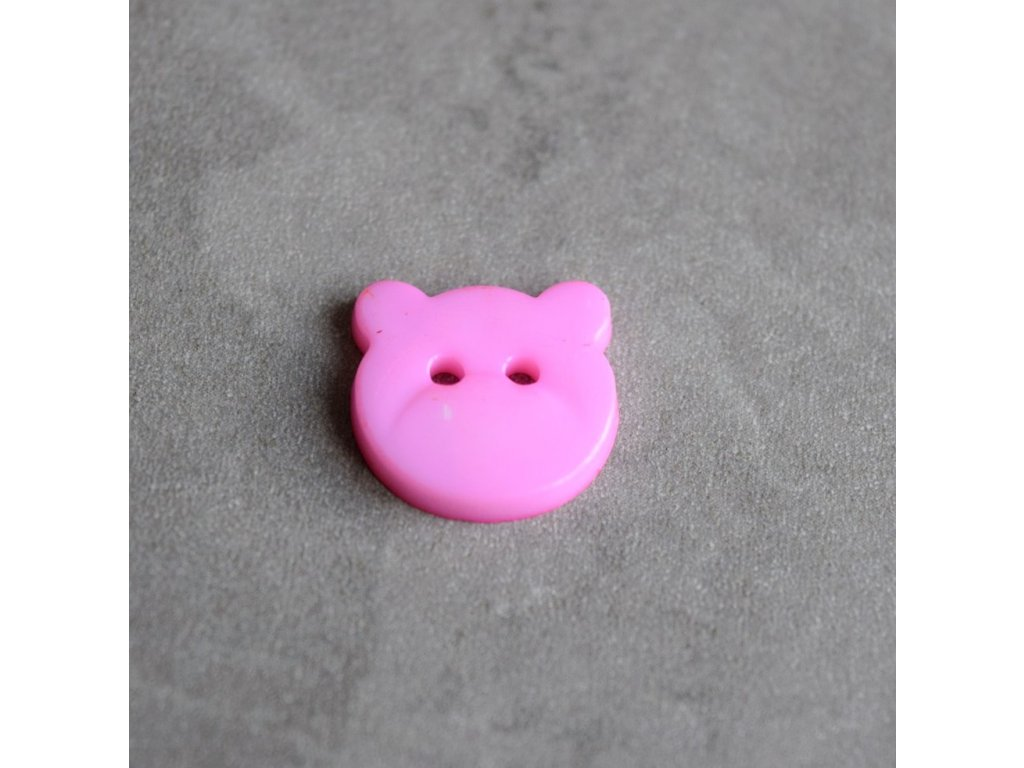 Knoflík - medvídek - světle růžový