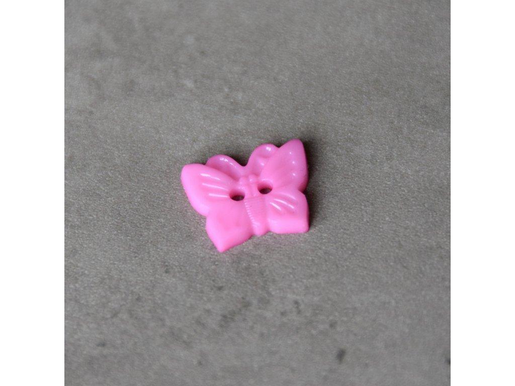 Knoflík - motýlek - růžový