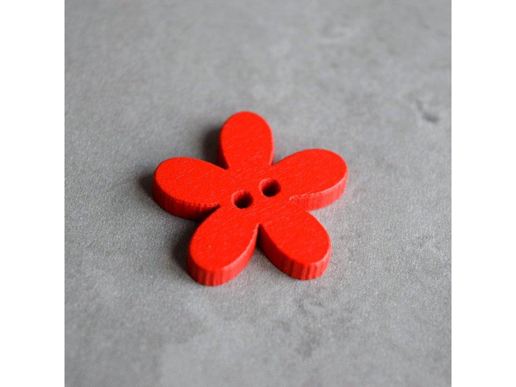Dřevěný dekorační knoflík - květina - červená