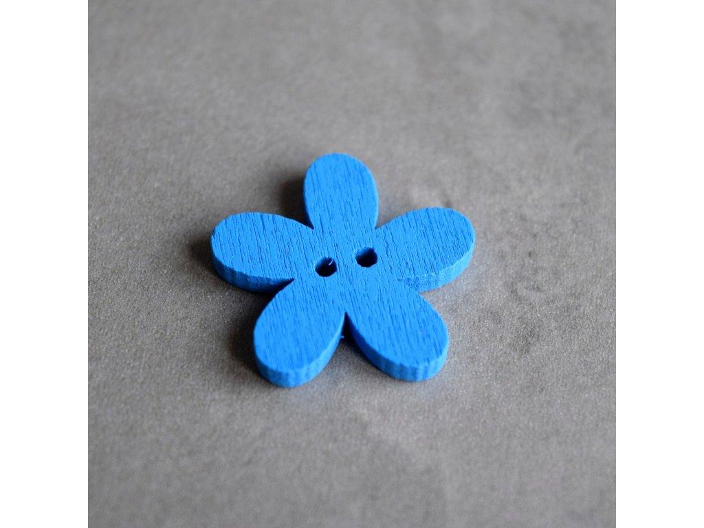Dřevěný dekorační knoflík - květina - modrá