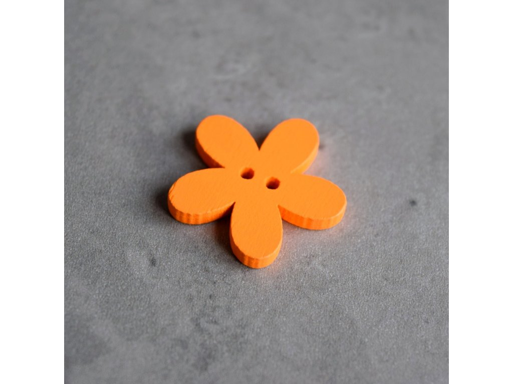 Dřevěný dekorační knoflík - květina - oranžová