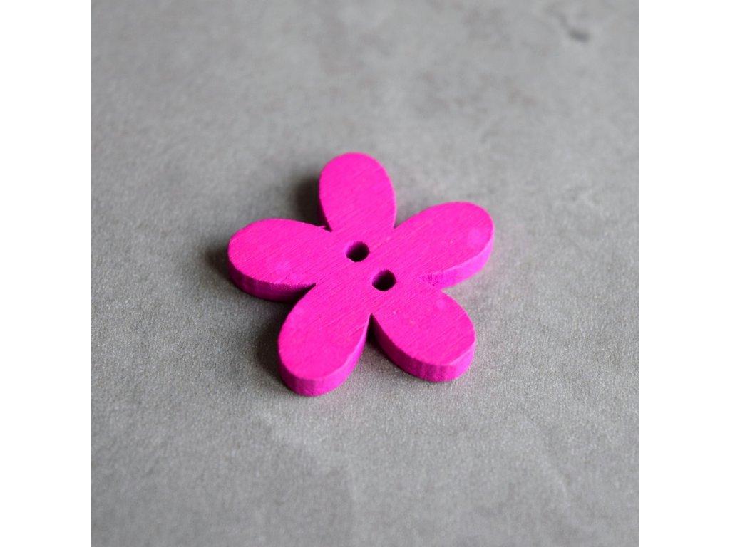 Dřevěný dekorační knoflík - květina - růžová