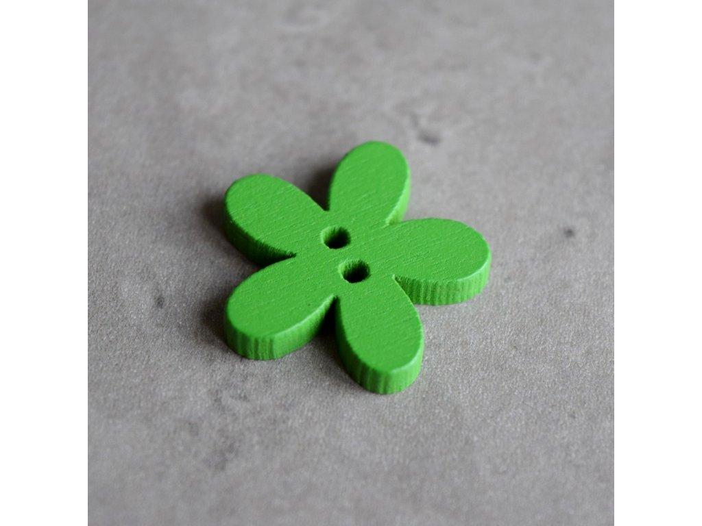 Dřevěný dekorační knoflík - květina - zelená