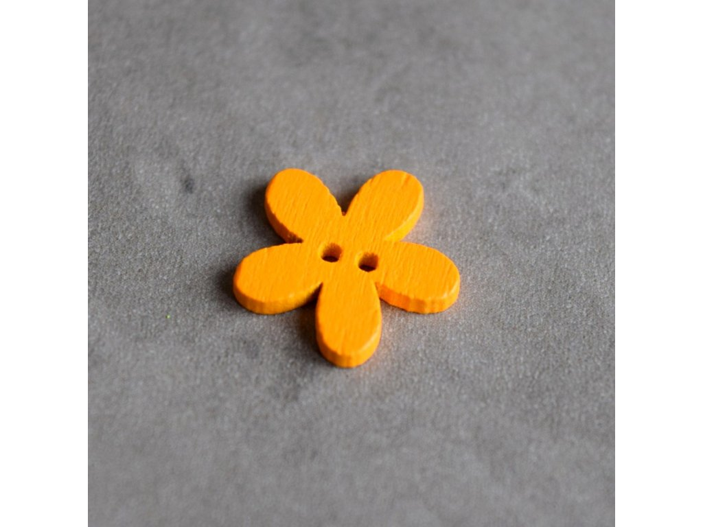 Dřevěný dekorační knoflík - květina malá - oranžová