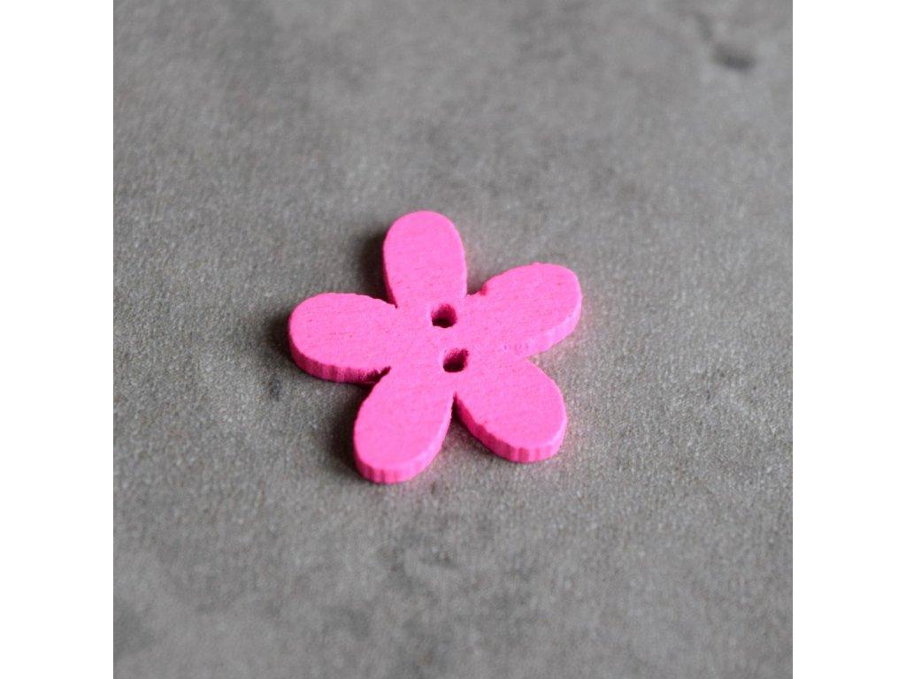 Dřevěný dekorační knoflík - květina malá - růžová