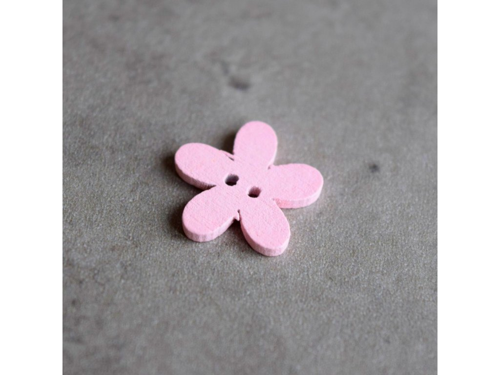 Dřevěný dekorační knoflík - květina malá - světle růžová