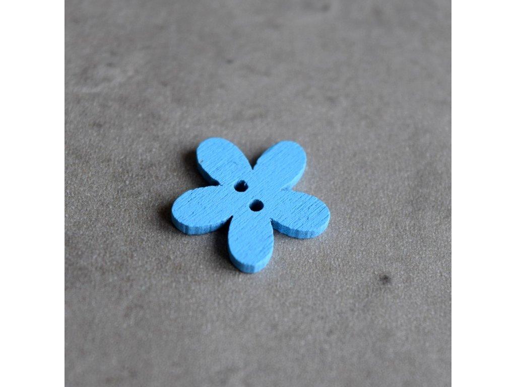 Dřevěný dekorační knoflík - květina malá - modrá