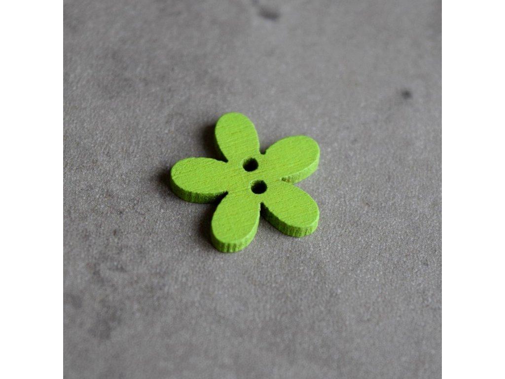 Dřevěný dekorační knoflík - květina malá - zelená