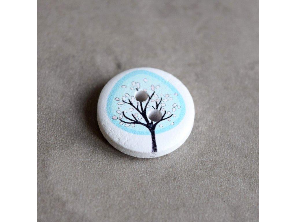 Dřevěný dekorační knoflík - strom - modrý