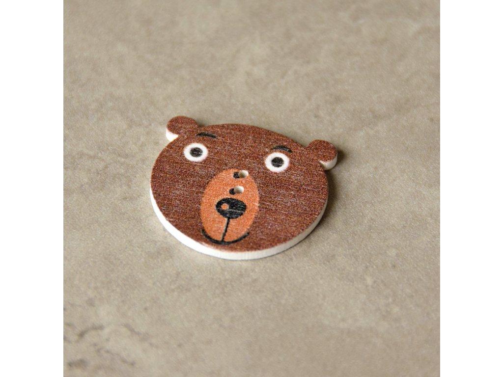Dřevěný dekorační knoflík - medvěd