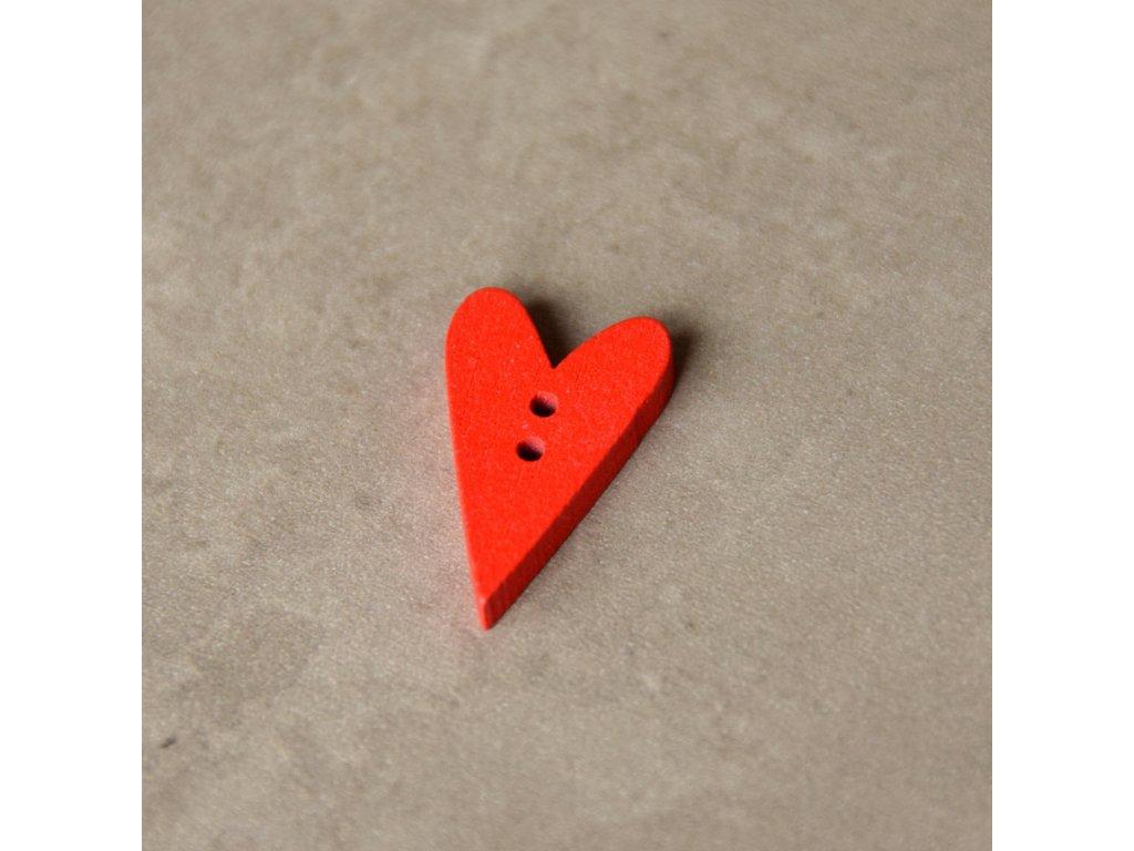 Dřevěný dekorační knoflík - srdce