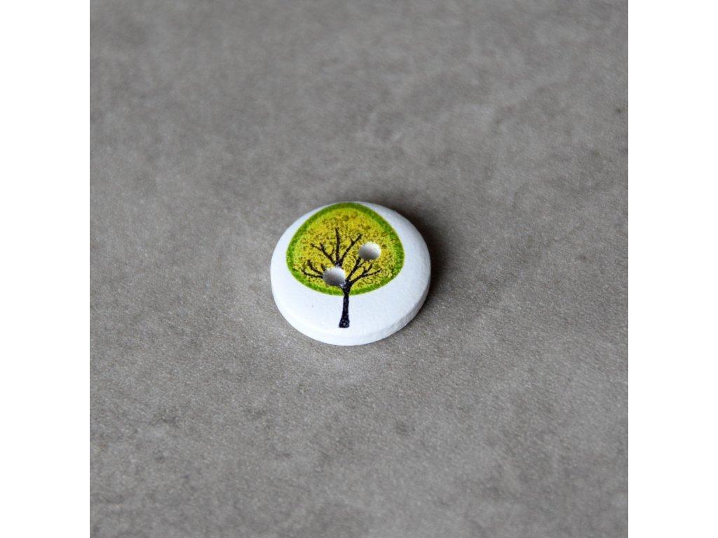 Dřevěný dekorační knoflík - strom - zelený