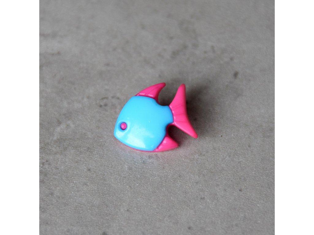 Knoflík - rybka - modrá