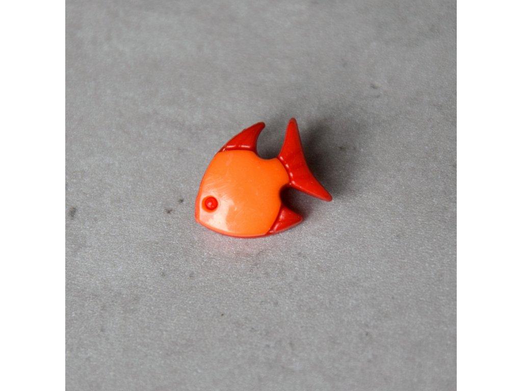 Knoflík - rybka - oranžová