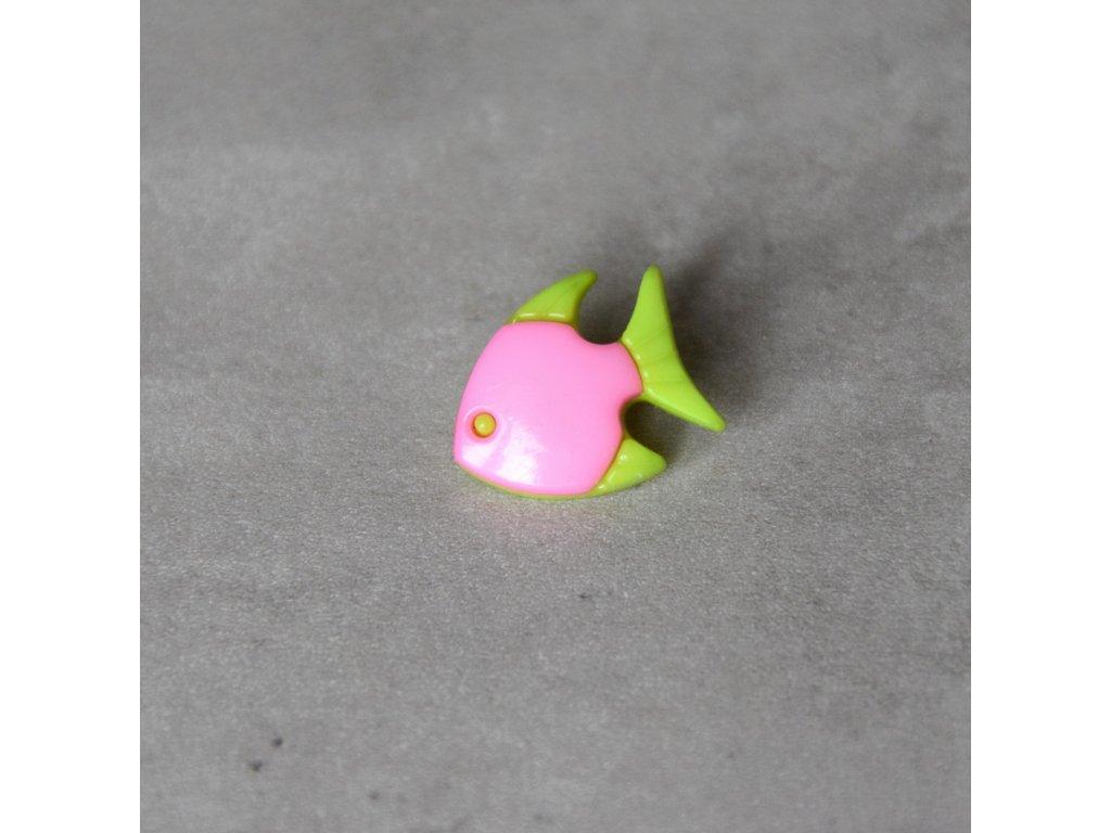 Knoflík - rybka - světle růžová