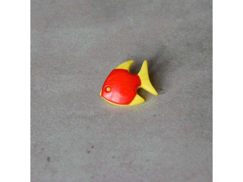 Knoflík - rybka - červená