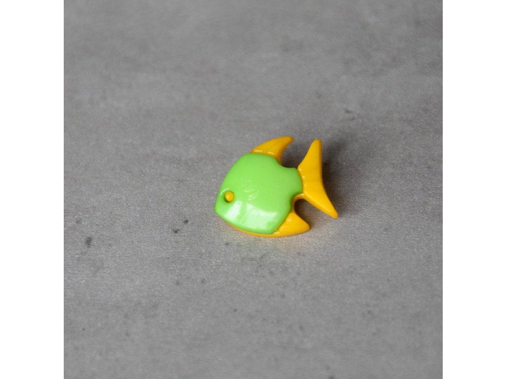 Knoflík - rybka - zelená