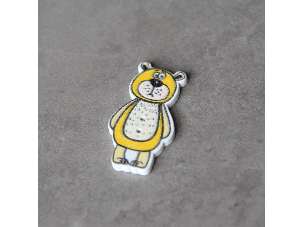 Dřevěný dekorační knoflík - medvěd - žlutý