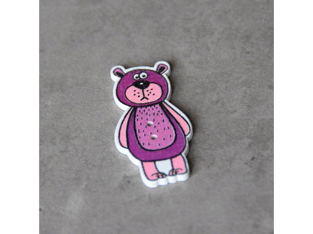 Dřevěný dekorační knoflík - medvěd - fialový