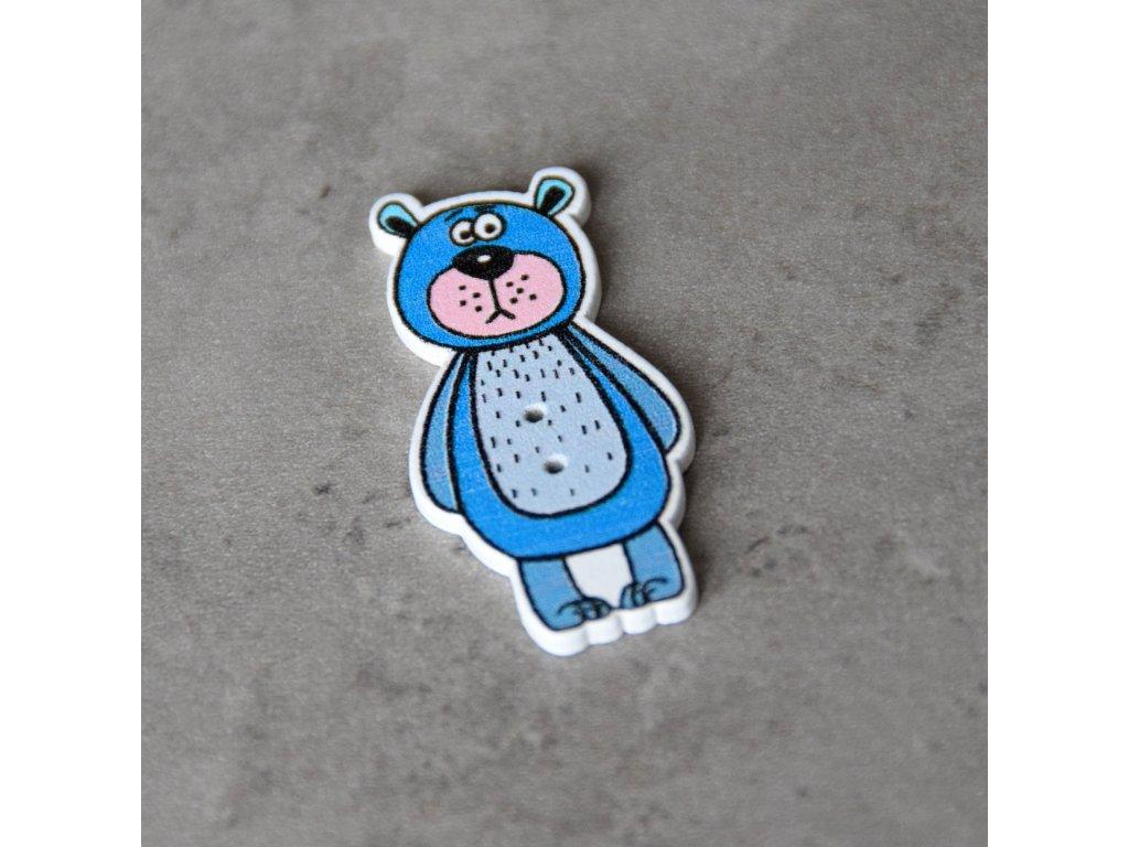 Dřevěný dekorační knoflík - medvěd - modrý
