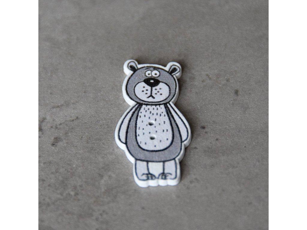 Dřevěný dekorační knoflík - medvěd - šedý