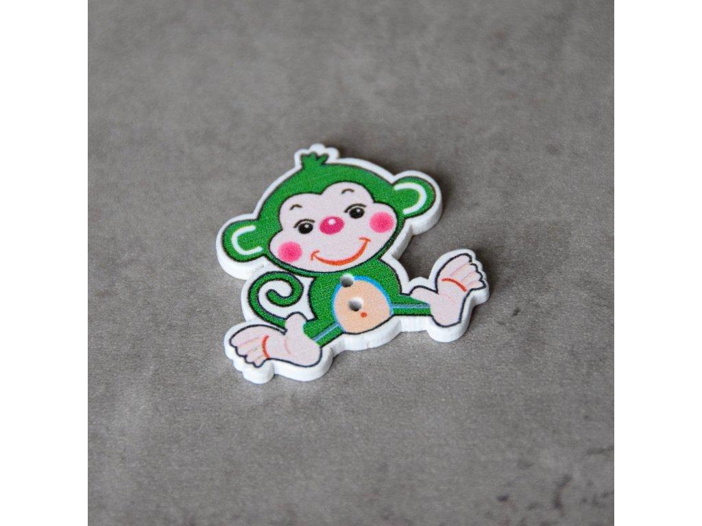 Dřevěný dekorační knoflík - opice - zelená